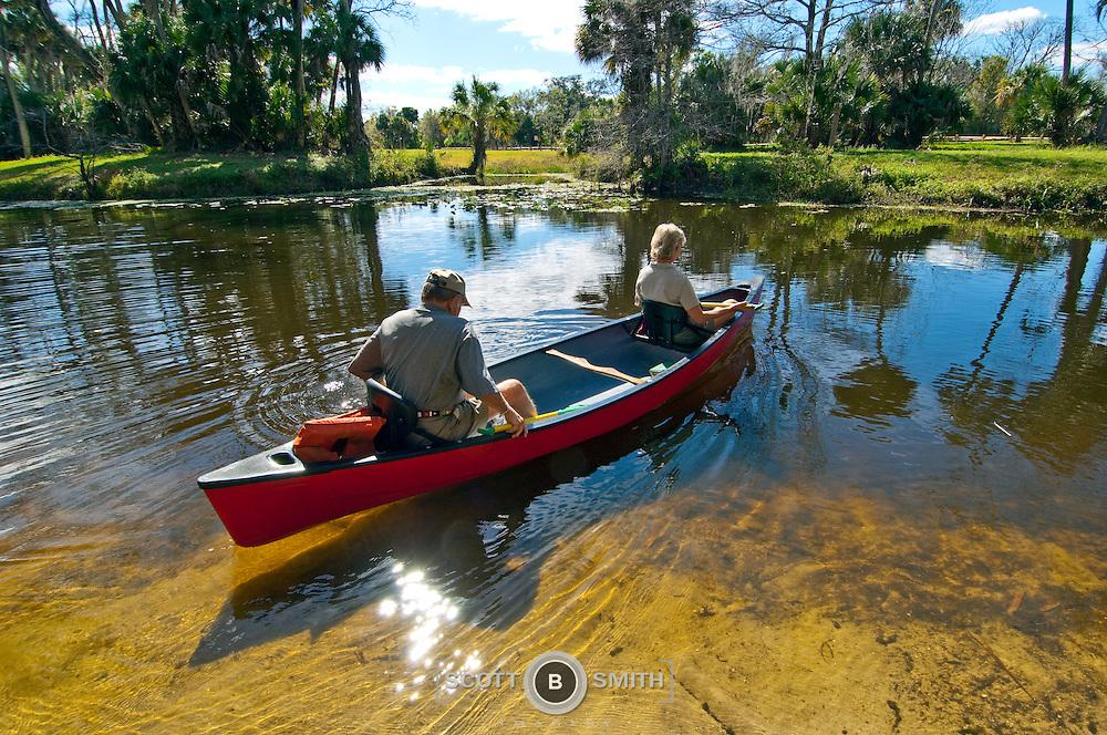 Canoe rental in state recreation area, Riverbend Park, Jupiter, Florida.
