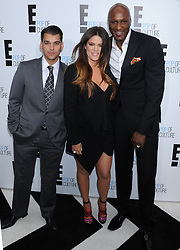Rob Kardashian, Khloe Kardashian Odom and Lamar Odom attending the '2012 E! Television Network UpFront', held at Gotham Hall in New York City, NY, USA, on April 30, 2012. Photo by Dennis Van Tine/ABACAPRESS.COM  | 318574_056