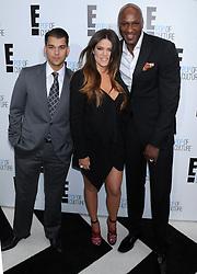 Rob Kardashian, Khloe Kardashian Odom and Lamar Odom attending the '2012 E! Television Network UpFront', held at Gotham Hall in New York City, NY, USA, on April 30, 2012. Photo by Dennis Van Tine/ABACAPRESS.COM  | 318574_056