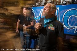 Industry party at Bill Dodge's bike shop during the 2015 Biketoberfest Rally. Daytona Beach, FL, USA. October 16, 2015.  Photography ©2015 Michael Lichter.