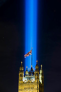 Spectra by Ryoji Ikeda, the London light installation for LIGHTS OUT looms above Westminster - it was designed to be able to be seen across the city and appeared at 10 pm as part of a series of art commissions. 14-18 NOW, the official cultural programme for the WW1 centenary commemorations, has organised a number of events to mark the centenary. As part of that, LIGHTS OUT is a nationwide event which are taking place at hundreds of venues, churches, war memorials and iconic buildings across the country on 4 August between 10pm and 11pm.