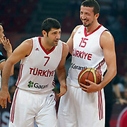Turkey's Omer ONAN (L) and Hidayet TURKOGLU (R) during their Istanbul CUP 2011match played Turkey between New Zeland at Abdi Ipekci Arena in Istanbul, Turkey on 24 August 2011. Photo by TURKPIX