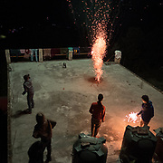 Fire crackers during Divali.