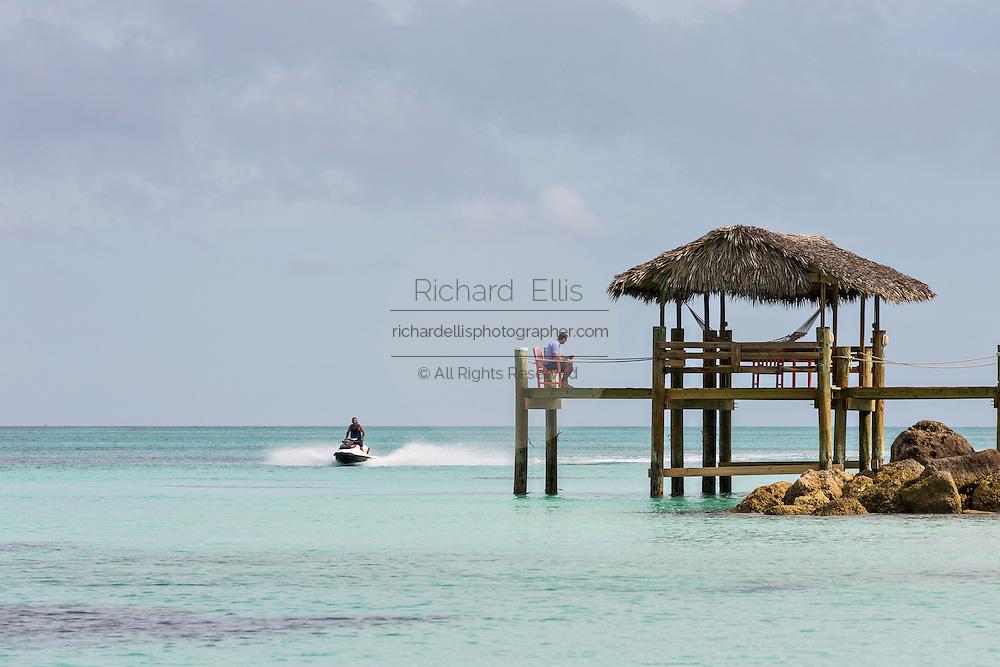 Gazebo over the water along Love beach in Nassau, Bahamas