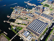 Nederland, Noord-Holland, Gemeente Amsterdam; 02-09-2020; zicht op Buiksloterham, terrein van de voormalige NDSM werf met IJ-hallen. Johan van Hasseltkanaal. <br /> Buiksloterham, site of the former NDSM wharf with IJ halls. Johan van Hasselt Canal.<br /> <br /> luchtfoto (toeslag op standaard tarieven);<br /> aerial photo (additional fee required)<br /> copyright © 2020 foto/photo Siebe Swart