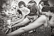 A gypsy girl can not contain emotion, when the holy image is presented to the Virgen del RocÌo