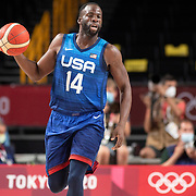 TOKYO, JAPAN - JULY 25:  Draymond Green #14 of the United States in action during the USA V France basketball preliminary round match at the Saitama Super Arena at the Tokyo 2020 Summer Olympic Games on July 25, 2021 in Tokyo, Japan. (Photo by Tim Clayton/Corbis via Getty Images)