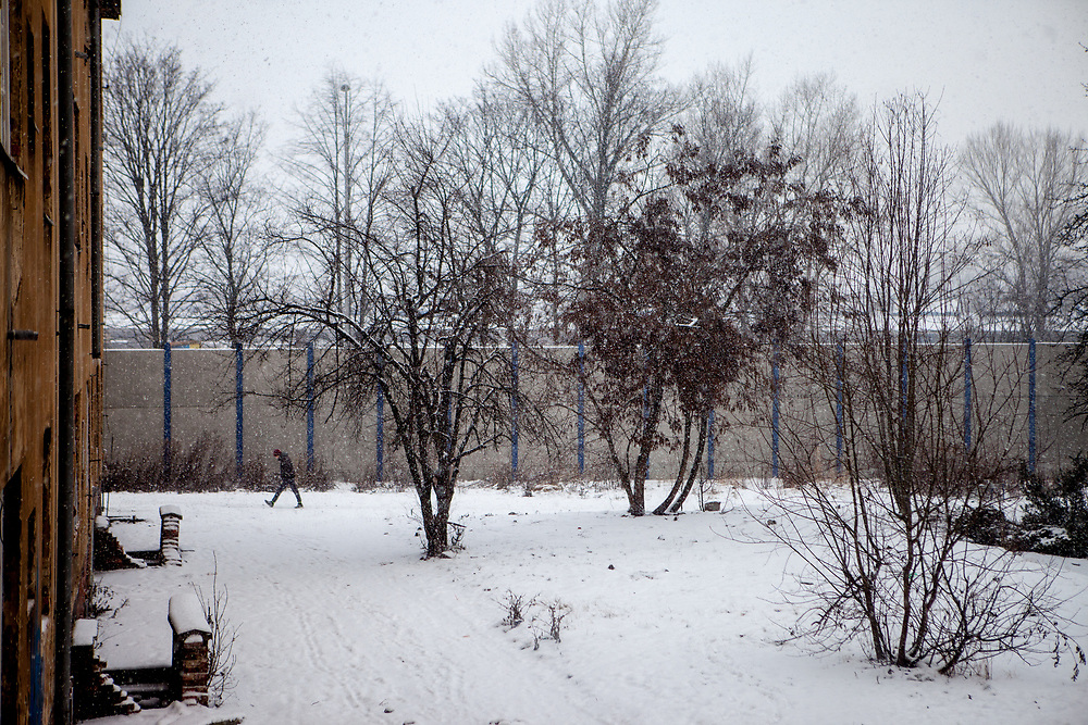 View to the backyard in the quater where Miroslav Klempar and his family lives in Ostrava.