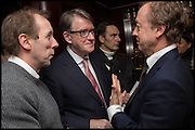 DAVE DAWSON; PETER MANDELSON; GEORDIE GREIG, Ralph Lauren host launch party for Nicky Haslam's book ' A Designer's Life' published by Jacqui Small. Ralph Lauren, 1 Bond St. London. 19 November 2014