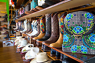 El Forastero Ropa Vaquera, a store that sells boots, hats and shirts imported from Mexico, located in downtown Woodburn, Oregon
