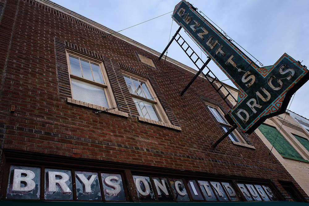 BRYSON CITY, NORTH CAROLINA - CIRCA DECEMBER 2019: Old drug store sign in Bryson City, North Carolina