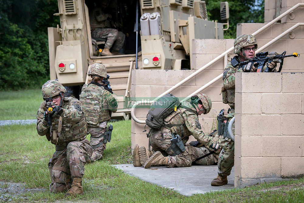 Airmen from the 820th Base Defense Group demonstrate their capabilities during the Joint Civilian Orientation 88, June 13, 2018, at Moody Air Force Base, Ga. The mission of JCOC is to increase the public's understanding of the military through engagements between the armed forces and course members. (U.S. Air Force photo by Airman 1st Class Eugene Oliver)