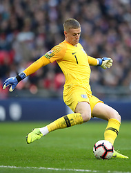 England goalkeeper Jordan Pickford during the UEFA Nations League, Group A4 match at Wembley Stadium, London. PRESS ASSOCIATION Photo. Picture date: Sunday November 18, 2018. See PA story SOCCER England. Photo credit should read: Nick Potts/PA Wire. RESTRICTIONS: Use subject to FA restrictions. Editorial use only. Commercial use only with prior written consent of the FA. No editing except cropping.