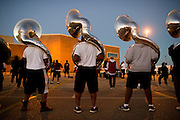 Grambling State University World Famed Tiger Marching Band practices in a parking lot outside of Eddie Robinson Stadium in Grambling, Louisiana on October 23, 2013.  (Cooper Neill for The New York Times)