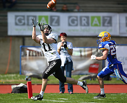 02.04.2016, Eggenberg Stadion, Graz, AUT, AFL, Projekt Spielberg Graz Giants vs Prague Black Panthers, im Bild Jan Dundacek (Prague Panthers, WR/QB, #11) und Thomas Winter (Projekt Spielberg Graz Giants, DB, #23) // during the Austrian Football League game between Projekt Spielberg Graz Giants vs Prague Black Panthers at the Eggenberg Stadium, Graz, Austria on 2016/04/02. EXPA Pictures © 2016, PhotoCredit: EXPA/ Thomas Haumer