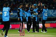Moeen Ali of Worcestershire Rapids and teammates celebrate the wicket of Luke Wright during the final of the Vitality T20 Finals Day 2018 match between Worcestershire Rapids and Sussex Sharks at Edgbaston, Birmingham, United Kingdom on 15 September 2018.