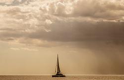THEMENBILD - ein Segelboot bei Sonnenuntergang bei stürmischer See, aufgenommen am 27. Juni 2018 in Pula, Kroatien // a sailboat at sunset at stormy sea, Pula, Croatia on 2018/06/27. EXPA Pictures © 2018, PhotoCredit: EXPA/ JFK