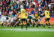Australia No.8 Maclean Jones feeds the ball to scrum-half James Tuttle during the World Rugby U20 Championship  match England U20 -V- Australia U20 at The AJ Bell Stadium, Salford, Greater Manchester, England on June  15  2016, (Steve Flynn/Image of Sport)