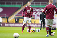 Burnley forward Ashley Barnes (10) warming up before the FA Cup match between Burnley and Milton Keynes Dons at Turf Moor, Burnley, England on 9 January 2021.