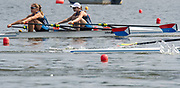 Poznan, POLAND, 21st June 2019, Friday, Morning Heats, USA. W2X -/1 (b) MADDEN Cicely and (s) STONE Genevra, FISA World Rowing Cup II, Malta Lake Course, © Peter SPURRIER/Intersport Images,<br /> <br /> 10:34:17