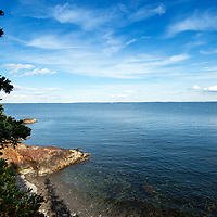 View of Western Penobscot Bay and the entrance to Rockland Harbor.
