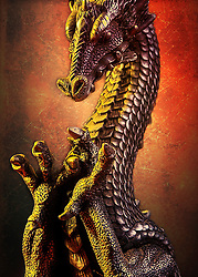 A Metallic Dragon Framed In Fiery Heat With Open Arms To Pull You In. OK.. so it's actually a candle-holder.