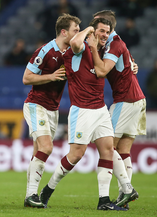 Burnley's Joey Barton celebrates with Ashley Barnes and Stephen Ward after scoring the winner<br /> <br /> Photographer Alex Dodd/CameraSport<br /> <br /> The Premier League - Burnley v Southampton - Saturday 14th January 2017 - Turf Moor - Burnley<br /> <br /> World Copyright © 2017 CameraSport. All rights reserved. 43 Linden Ave. Countesthorpe. Leicester. England. LE8 5PG - Tel: +44 (0) 116 277 4147 - admin@camerasport.com - www.camerasport.com