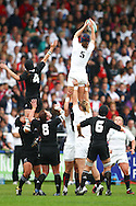 5th September 2010, Twickenham Stoop, London, England: Joanna McGilchrist of England reaches for a lineout during the IRB Women's Rugby World Cup final between England and New Zealand Black Ferns. New Zealand won 13-10, capturing the trophy for the 4th time.  (Photo by Andrew Tobin www.slikimages.com)