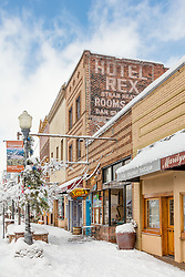 """""""Downtown Truckee 27"""" - Photograph of historic Downtown Truckee, California. Shot in the morning after a big snow storm."""