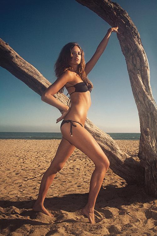 Swimsuit Model shot in Malibu, Los Angeles, California. Beach location at sunset. ©justinalexanderbartels.com