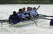 """Chiswick, London. <br /> University of London Trail Eights<br /> 14/02/2002<br /> Putney to Mortlake<br /> UL crew 'Honour"""" protest after  a clash of blades and a disputed racing line.        [Mandatory Credit:Peter SPURRIER/Intersport Images]"""