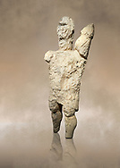 9th century BC Giants of Mont'e Prama  Nuragic stone statue of a boxer, Mont'e Prama archaeological site, Cabras. Museo archeologico nazionale, Cagliari, Italy. (National Archaeological Museum) - Art Background .<br />  <br /> If you prefer to buy from our ALAMY STOCK LIBRARY page at https://www.alamy.com/portfolio/paul-williams-funkystock/nuragic-artefacts.html - Type intoo the LOWER SEARCH WITHIN GALLERY box to refine search by adding background colour, etc<br /> <br /> Visit our NURAGIC PHOTO COLLECTIONS for more photos to download or buy as wall art prints https://funkystock.photoshelter.com/gallery-collection/Nuragic-Nuraghe-Towers-Nuragic-Artefacts-of-Sardinia-Pictures-Images/C0000M6ZtTuHVsSo