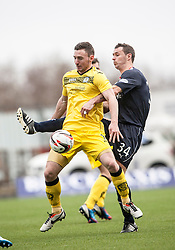 Queen of the South's Bob McHugh and Falkirk's David McCracken.<br /> Half time : Falkirk 0 v 0 Queen of the South, Scottish Championship game today at the Falkirk Stadium.<br /> © Michael Schofield.