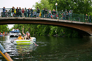 People participate in the annual Fools' Flotilla down Yahara River in Madison, Wisconsin on June 10, 2018. The parade is presented by River Alliance of Wisconsin<br /> <br /> Beth Skogen Photography - www.bethskogen.com