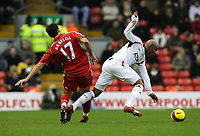 Photo: Paul Greenwood/Sportsbeat Images.<br />Liverpool v Bolton Wanderers. The FA Barclays Premiership. 02/12/2007.<br />Bolton's El Hadji Diouf, (R) is fouled by the tackle of Liverpool's Alvaro Arbeloa,