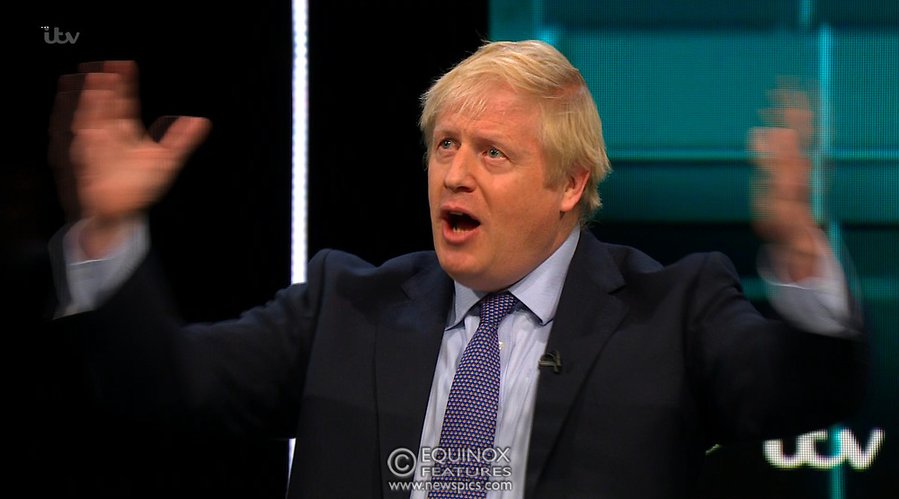 Broadcast TV, United Kingdom - 19 November 2019<br /> Labour leader Jeremy Corbyn and Prime Minister Boris Johnson debate live on ITV tonight as part of the 2019 general election campaign.<br /> (supplied by: Supplied by: EQUINOXFEATURES.COM)<br /> Picture Data:<br /> Contact: Equinox Features<br /> Date Taken: 20191119<br /> Time Taken: 201929<br /> www.newspics.com
