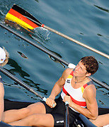 Shunyi, CHINA.   GER W4X, Katrin BORON, Women's quads  move under the bridge to the start, for their Repechage, at the 2008 Olympic Regatta, Shunyi Rowing Course. Tuesday 12.08.2008  [Mandatory Credit: Peter SPURRIER, Intersport Images]