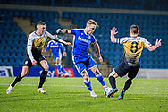 Crewe Alexandra midfielder Oliver Finney (14) and Crewe Alexandra midfielder Tom Lowery (8) try to win the ball back as Gillingham FC midfielder Kyle Dempsey (8) keeps the possession  during the EFL Sky Bet League 1 match between Gillingham and Crewe Alexandra at the MEMS Priestfield Stadium, Gillingham, England on 26 January 2021.