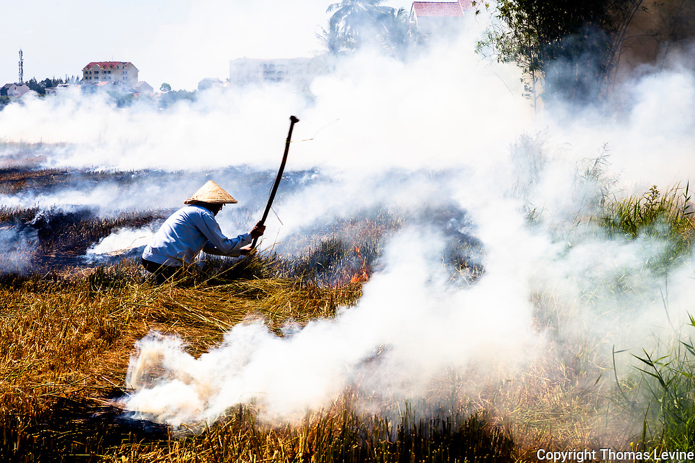 Farmer holds up a pole he is using to stoke his fire to burn the straw after harvesting his rice crop.