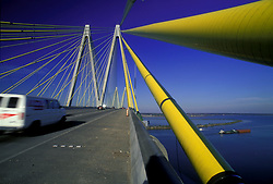 View from the Fred Hartman Bridge looking down at the Port of Houston Waterway