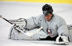Goalkeeper Anze Ulcar at  hockey training of Slovenian national team, on December 12, 2007 in Bled - Ice Arena, Slovenia. (Photo by Vid Ponikvar / Sportal Images)
