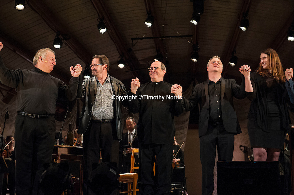 Kim Josephson (baritone), Steven Stucky (composer), Robert Spano (conductor), Jeremy Denk (librettist) and Mary Birnbaum (director) take a bow at the world premiere of The Classical Style: An Opera (of Sorts) at the 68th Ojai Music Festival at Libbey Bowl on June 13, 2014 in Ojai, California.