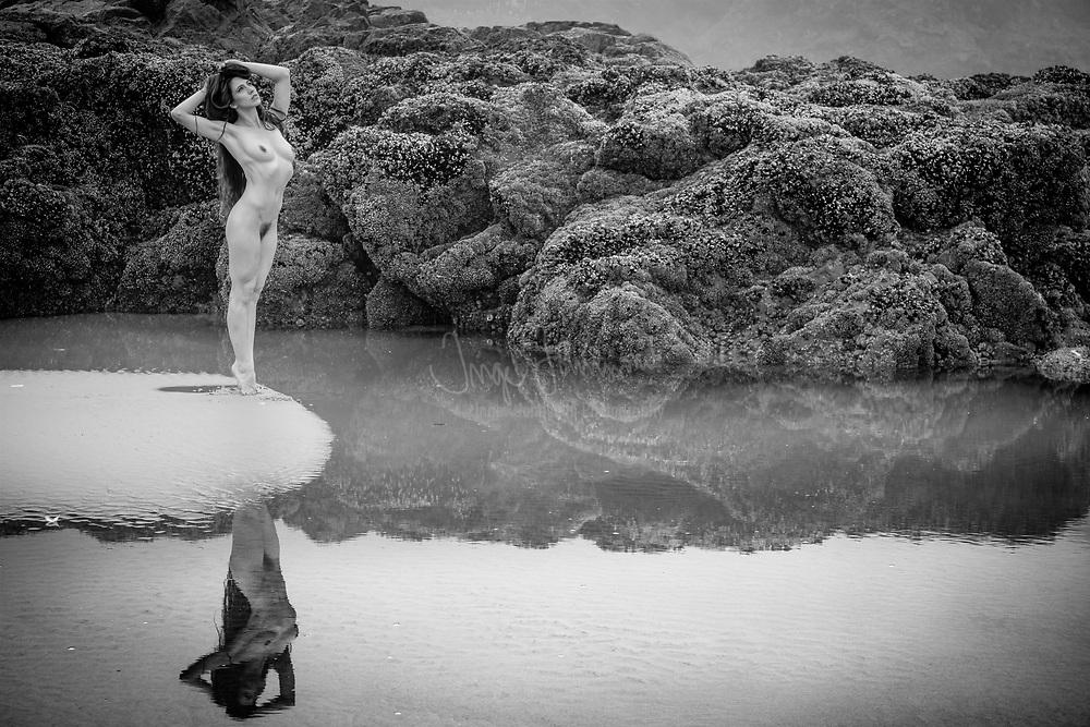 Fine art nude figure study on the Oregon coast near Cape Mears