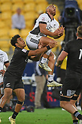 Joe Webber takes a high ball in the All Blacks Sevens match, Sky Stadium, Wellington, Sunday, April 11, 2021. Copyright photo: Kerry Marshall / www.photosport.nz