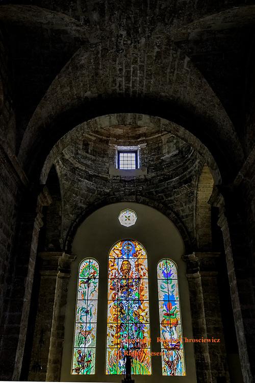 Catholic Cuba: An impressive low angle view of the alter, stained glass and architecture of Iglesia de San Francisco de Paula, Havana Cuba.