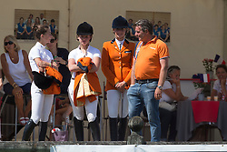 Harmsen Sven (NED) with Lisa Nooren, Leontine Bruin and Teddy van de Rijt<br /> European Championship Poney - Fontainebleau 2012<br /> © Dirk Caremans