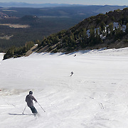 Skiers take to the mountain on July 2, 2019 after Mammoth's historic winter. The ski area remained open through July due to the 59 feet of snow the mountain received during the epic winter.