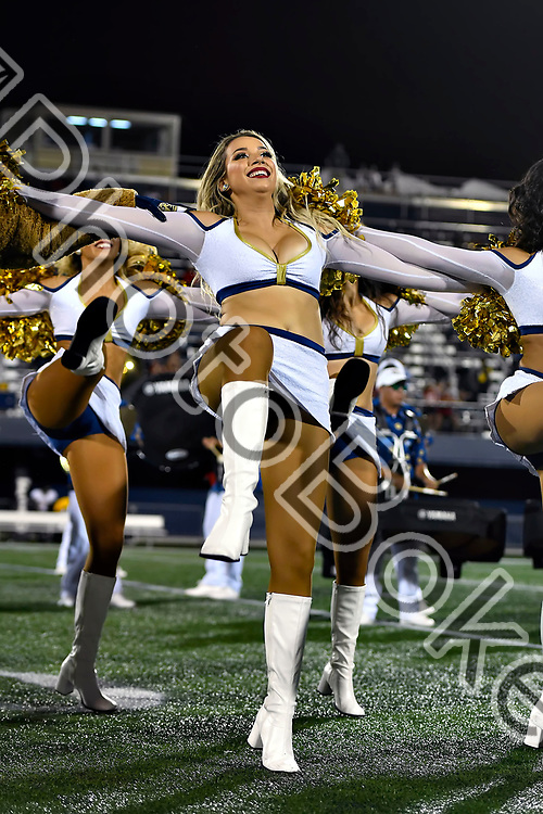 2018 September 29 - FIU's Golden Dazzlers performing for the crowd at Riccardo Silva Stadium, Miami Florida. (Photo by: Alex J. Hernandez / photobokeh.com) This image is copyright by PhotoBokeh.com and may not be reproduced or retransmitted without express written consent of PhotoBokeh.com. ©2018 PhotoBokeh.com - All Rights Reserved