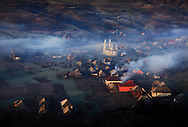 View of a traditional Romanian village in the region of Maramures