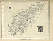 Ancient 19th Century map of Northamptonshire (Northampton shire, Northants.), a county in the East Midlands of England. Copperplate engraving From the Encyclopaedia Londinensis or, Universal dictionary of arts, sciences, and literature; Volume XVII;  Edited by Wilkes, John. Published in London in 1820